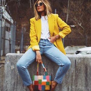 Vintage single button boyfriend blazer yellow